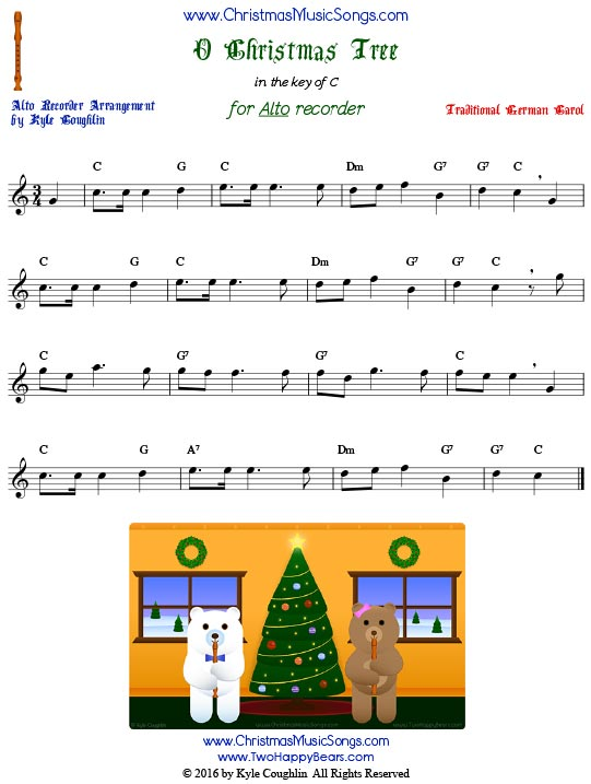 O Christmas Tree for alto recorder in the key of C.