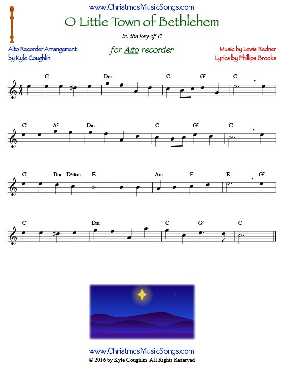 O Little Town of Bethlehem for alto recorder in the key of C.