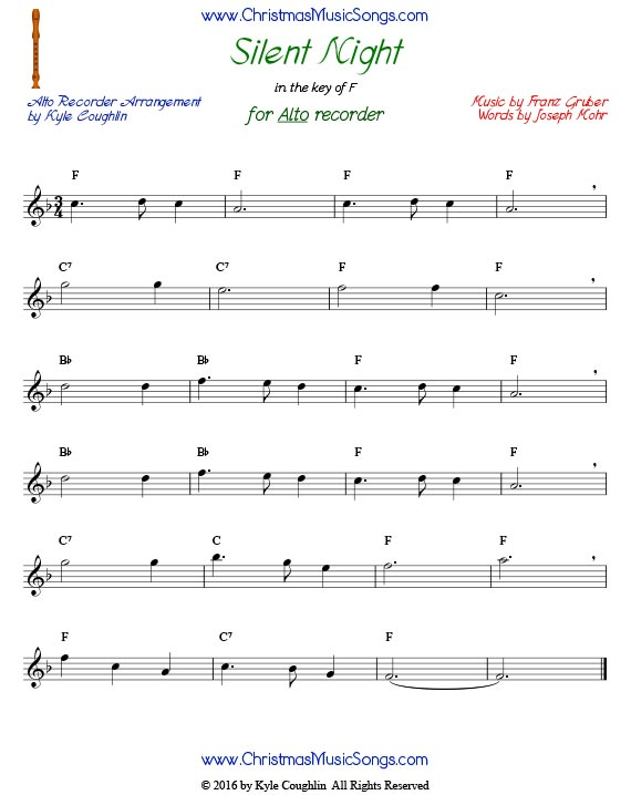 Silent Night for alto recorder in the key of F.