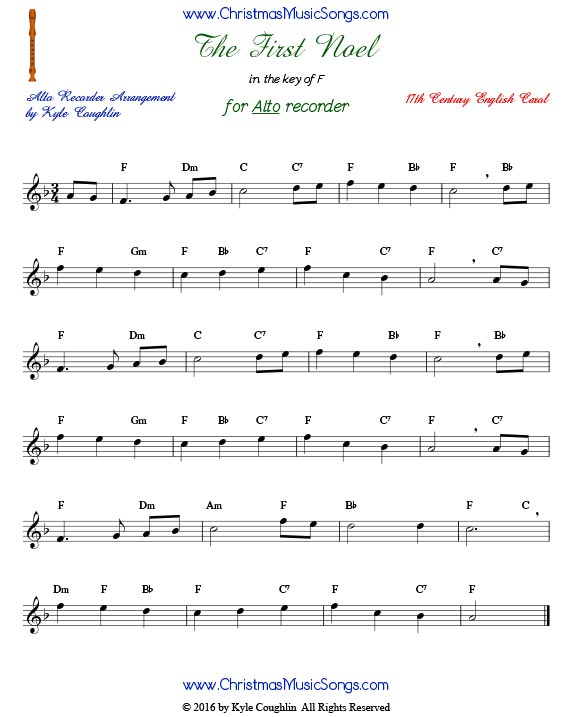 The Christmas carol The First Noel for alto recorder in the key of F.