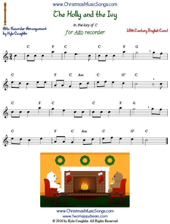 The Holly and the Ivy for alto recorder in the key of C.