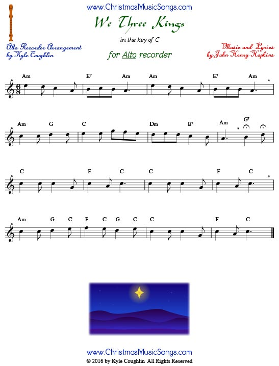 We Three Kings for alto recorder in the key of C.