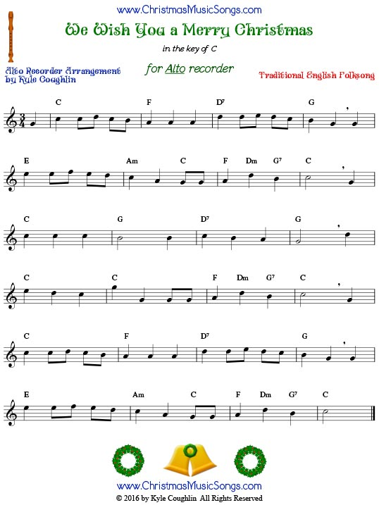 We Wish You a Merry Christmas, arranged for alto recorder.