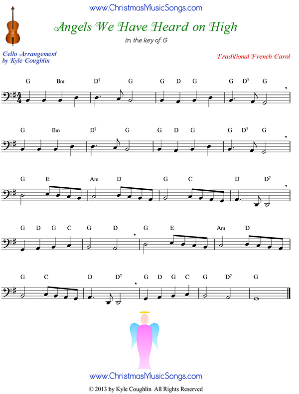 angels we have heard on high free sheet music for cello  christmas carol sheet music