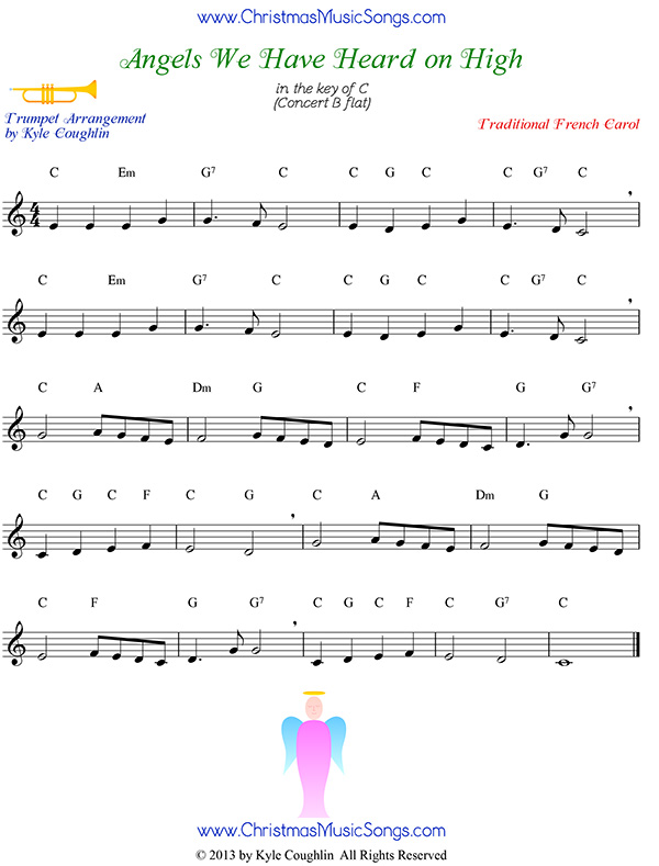 Angels We Have Heard On High Free Sheet Music For Trumpet