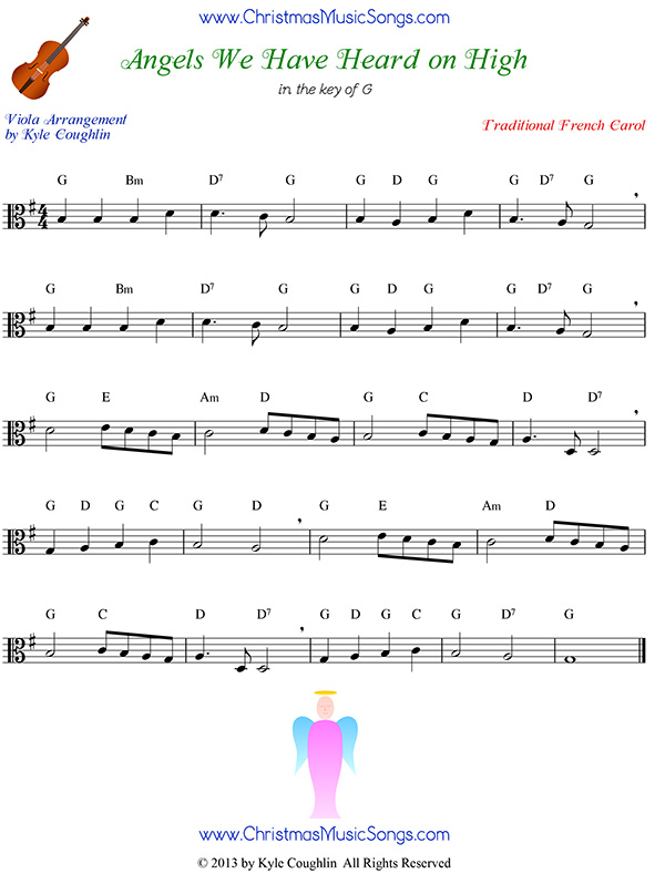 Angels We Have Heard on High free sheet music for viola