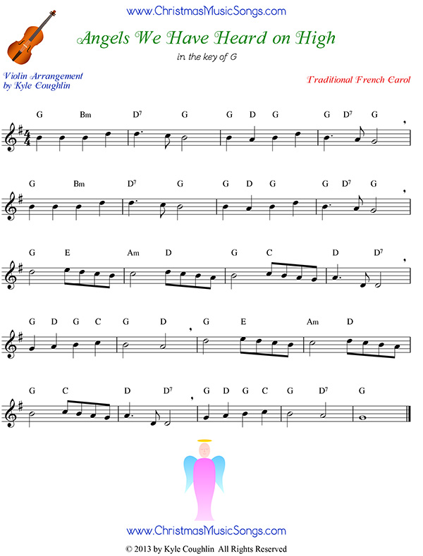 Angels We Have Heard on High free sheet music for violin