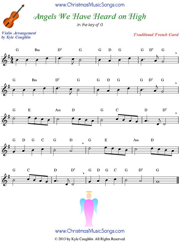 angels we have heard on high free sheet music for violin  christmas carol sheet music