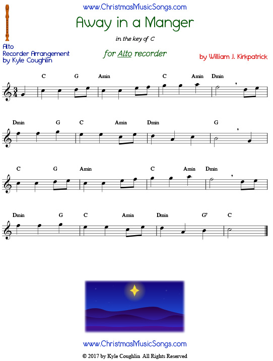 Away in a Manger for alto recorder, free printable PDF sheet music in the key of C. Version composed by William J. Kirkpatrick.