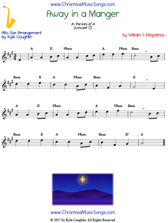 graphic about Free Printable Alto Saxophone Sheet Music named Absent In just A Manger for Alto Saxophone - No cost Sheet New music