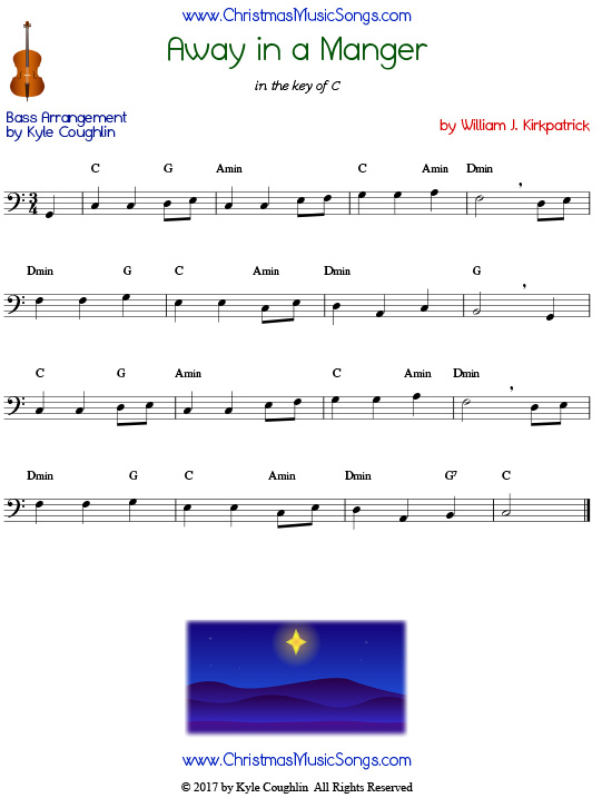 Away in a Manger bass sheet music by William J. Kirkpatrick, arranged to play along with other wind, brass, and string instruments.
