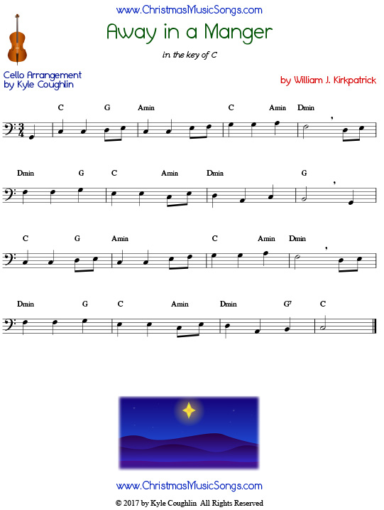 Away in a Manger cello sheet music by William J. Kirkpatrick, arranged to play along with other wind, brass, and string instruments.