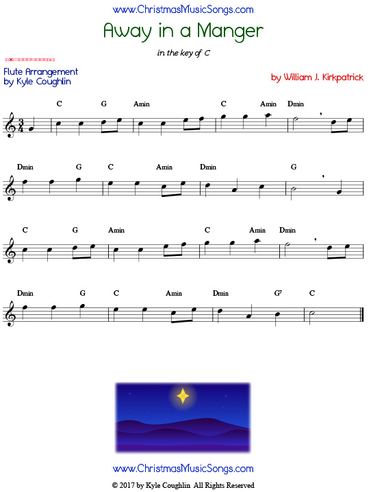 Away in a Manger flute sheet music by William J. Kirkpatrick, arranged to play along with other wind, brass, and string instruments.