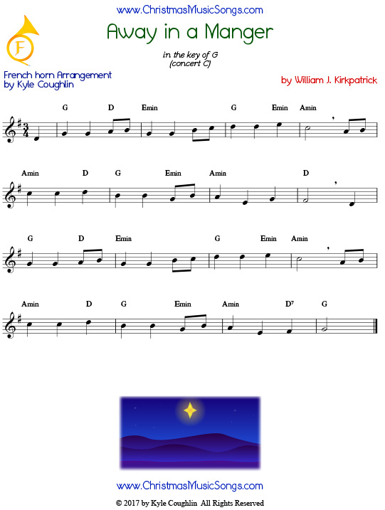 Away in a Manger French horn sheet music by William J. Kirkpatrick, arranged to play along with other wind, brass, and string instruments.