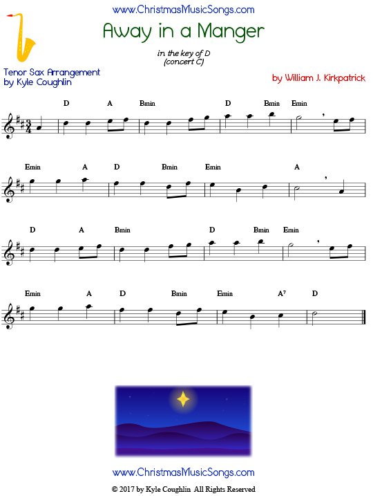 Away in a Manger tenor saxophone sheet music by William J. Kirkpatrick, arranged to play along with other wind, brass, and string instruments.