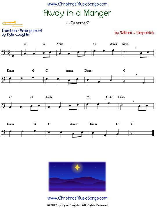 Away in a Manger trombone sheet music by William J. Kirkpatrick, arranged to play along with other wind, brass, and string instruments.
