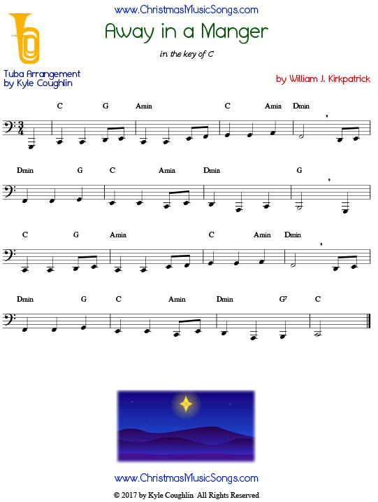 Away in a Manger tuba sheet music by William J. Kirkpatrick, arranged to play along with other wind, brass, and string instruments.