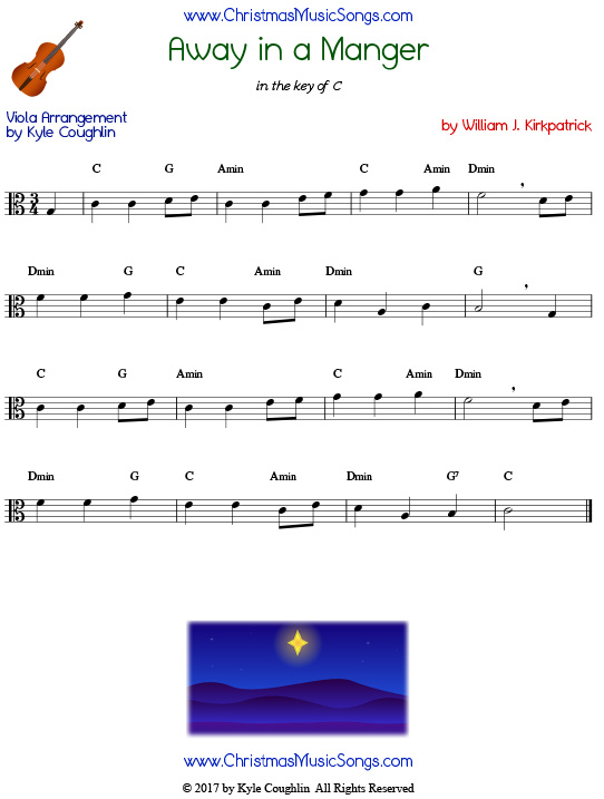 Away in a Manger viola sheet music by William J. Kirkpatrick, arranged to play along with other wind, brass, and string instruments.