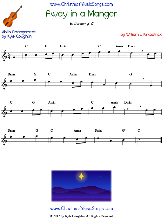 Away in a Manger violin sheet music by William J. Kirkpatrick, arranged to play along with other wind, brass, and string instruments.
