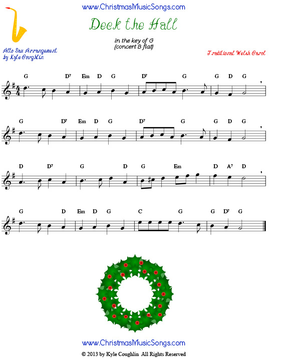 Deck the Halls sheet music for alto saxophone.