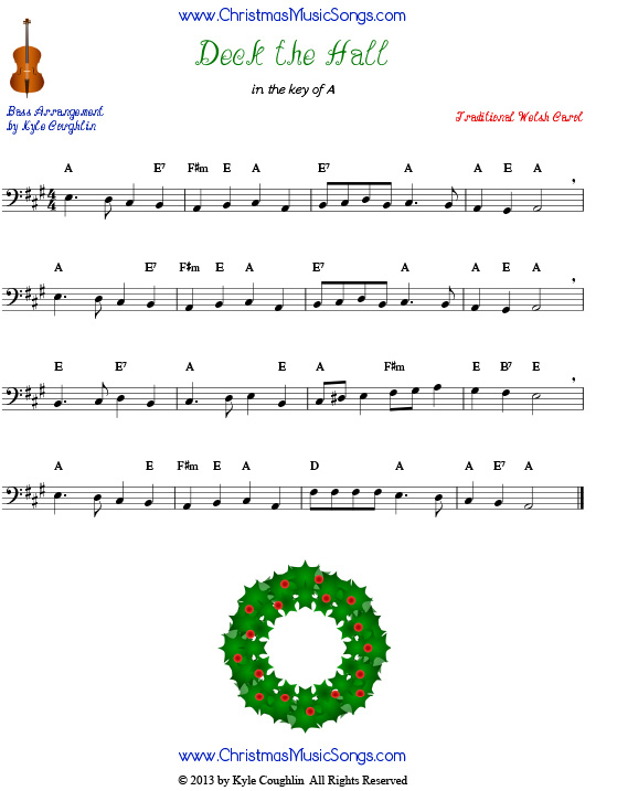 Deck the Halls sheet music for bass.