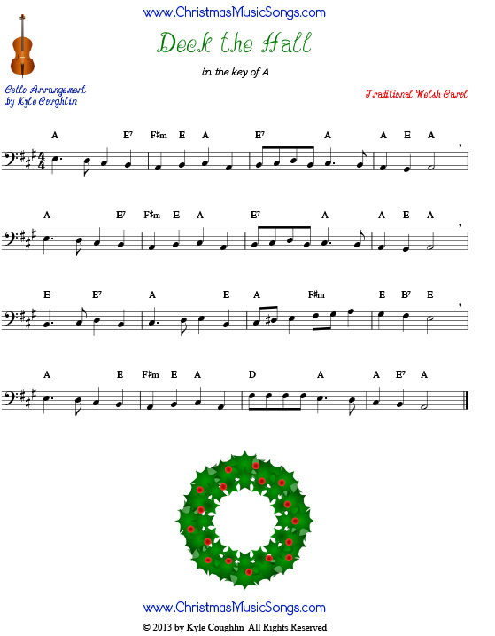 Deck the Halls sheet music for cello.