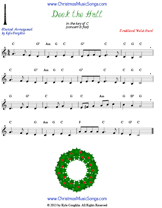 Deck the Halls sheet music for clarinet.