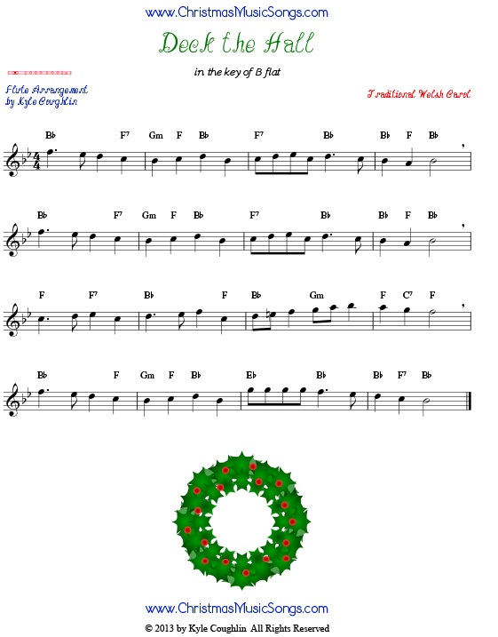 graphic regarding Printable Flute Sheet Music named Deck The Halls for Flute - Totally free Sheet Tunes