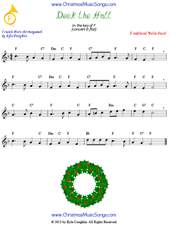 Deck the Halls sheet music for French horn.