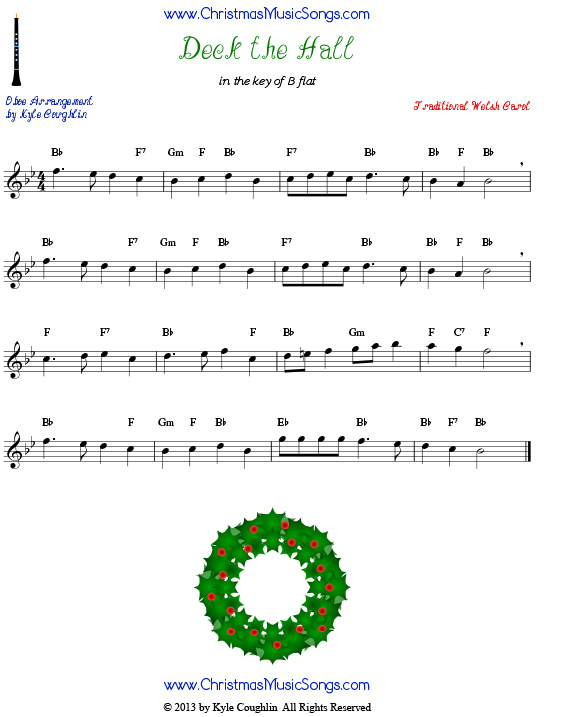 Deck the Halls sheet music for oboe.