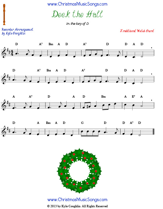 Deck the Halls sheet music for recorder.