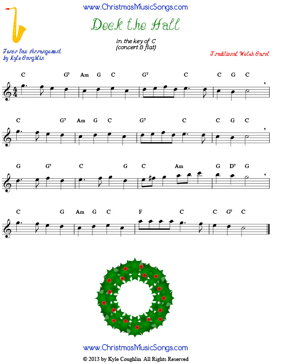 Deck the Halls sheet music for tenor saxophone.