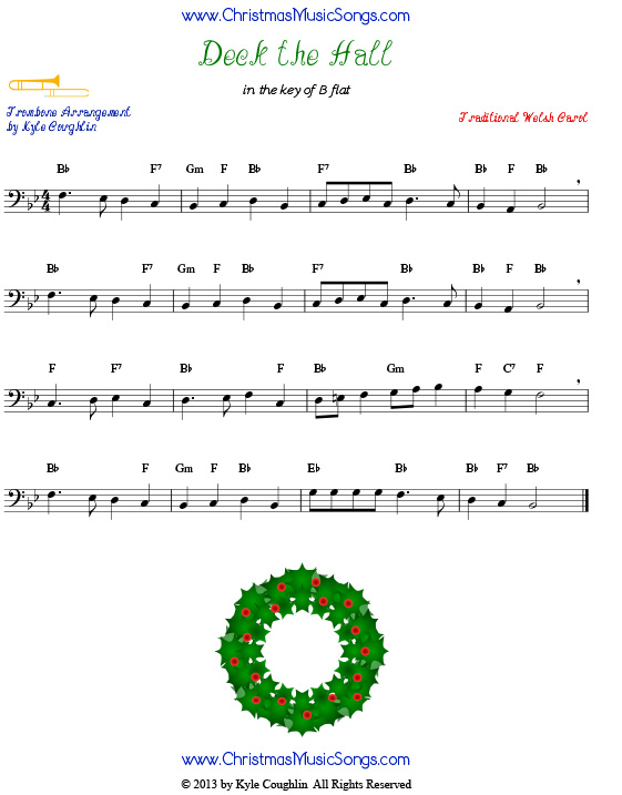Deck the Halls sheet music for trombone.