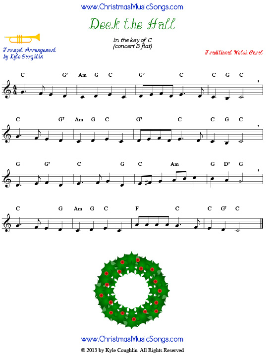 Deck the Halls sheet music for trumpet.