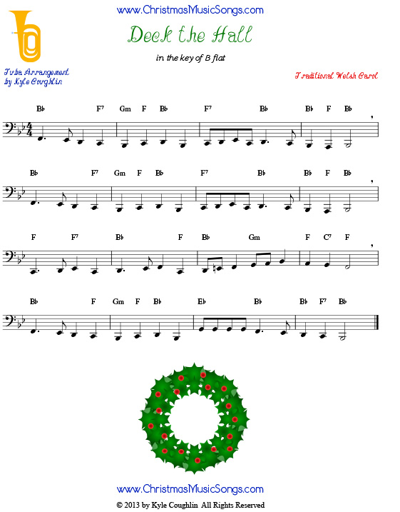 Deck the Halls for tuba - free sheet music