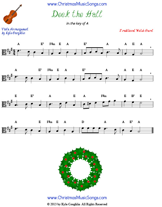 Deck the Halls sheet music for viola.