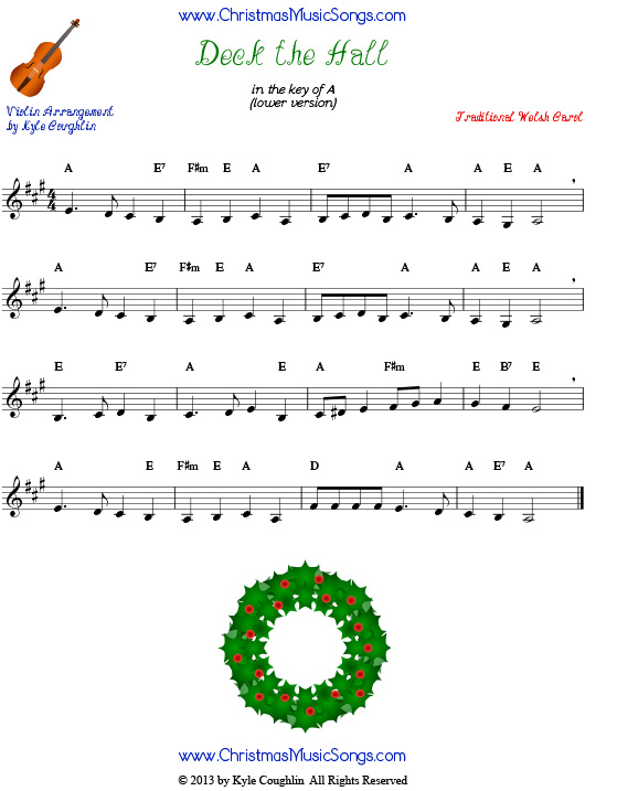 Deck the Halls sheet music for violin - lower version.