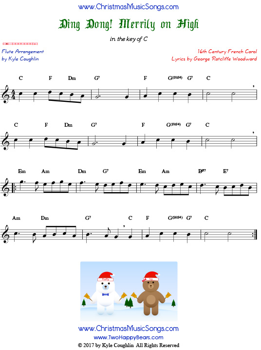 Ding Dong! Merrily on High flute sheet music, arranged to play along with other wind, brass, and string instruments.