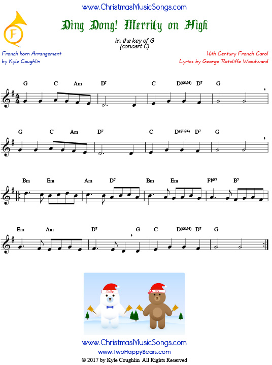 Ding Dong! Merrily on High French horn sheet music, arranged to play along with other wind, brass, and string instruments.