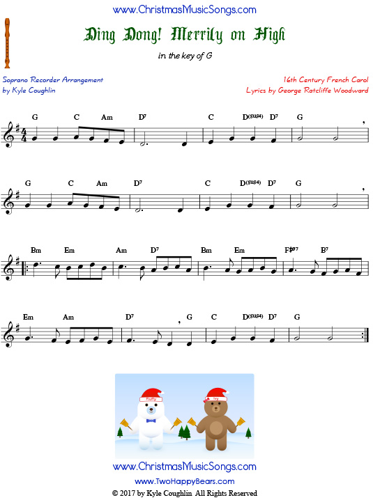 The Christmas carol Ding Dong! Merrily on High, arranged for recorder in the key of G.