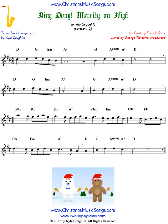 Ding Dong! Merrily on High tenor saxophone sheet music, arranged to play along with other wind, brass, and string instruments.