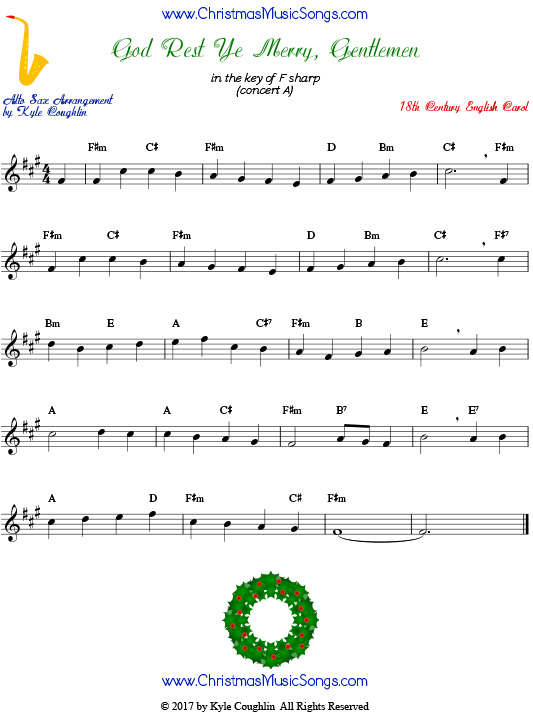 God Rest Ye Merry, Gentlemen alto saxophone sheet music, arranged to play along with other wind, brass, and string instruments.
