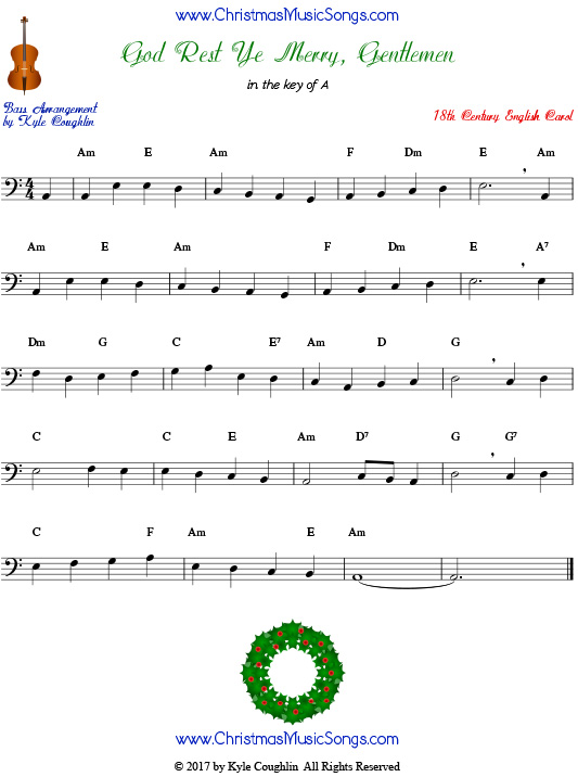 God Rest Ye Merry, Gentlemen for bass, arranged to play along with strings, woodwinds, and brass.