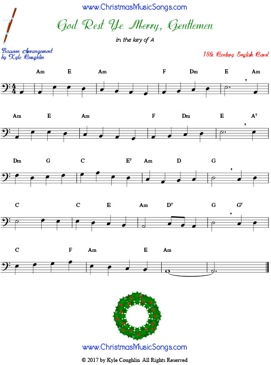 God Rest Ye Merry, Gentlemen bassoon sheet music, arranged to play along with other wind, brass, and string instruments.