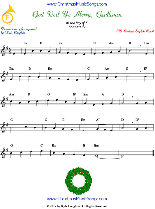 God Rest Ye Merry, Gentlemen French horn sheet music, arranged to play along with other wind, brass, and string instruments.