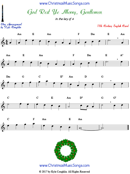 God Rest Ye Merry, Gentlemen oboe sheet music, arranged to play along with other wind, brass, and string instruments.