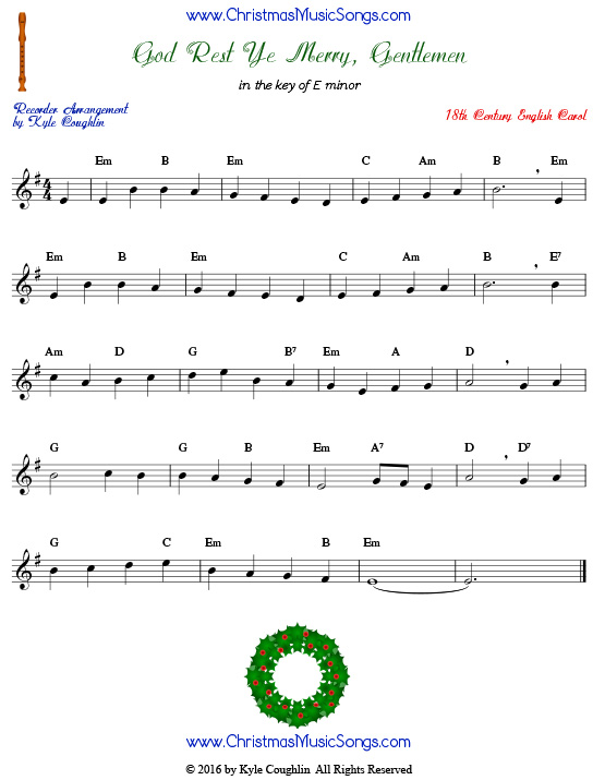 The Christmas carol God Rest Ye Merry Gentlemen for recorder in the key of E minor.