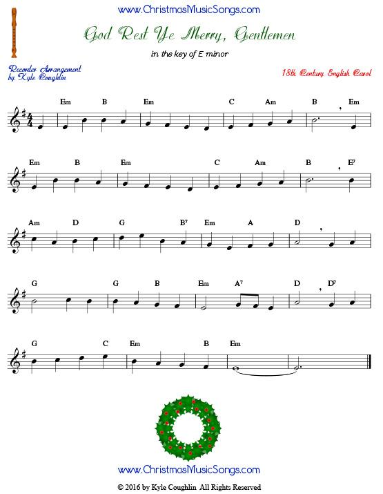 God Rest Ye Merry Gentlemen for recorder - free sheet music