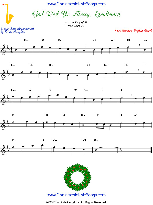 God Rest Ye Merry, Gentlemen tenor saxophone sheet music, arranged to play along with other wind, brass, and string instruments.