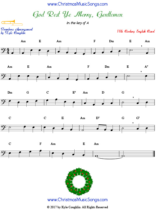 God Rest Ye Merry, Gentlemen trombone sheet music, arranged to play along with other wind, brass, and string instruments.